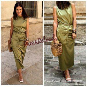 Zara green olive nwt size med side pocket detail